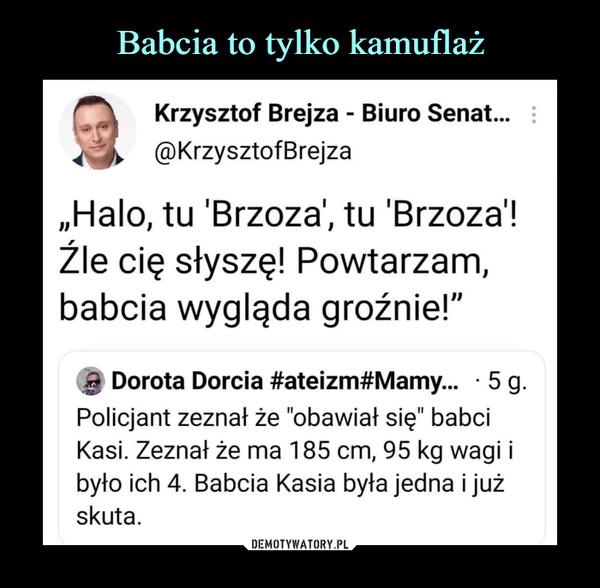 """–  ^\    Krzysztof Brejza - Biuro Senat...^gp^ @KrzysztofBrejza""""Halo, tu 'Brzoza', tu 'Brzoza'!Źle cię słyszę! Powtarzam,babcia wygląda groźnie!""""% Dorota Dorcia #ateizm#Mamy...   5 g.Policjant zeznał że """"obawiał się"""" babciKasi. Zeznał że ma 185 cm, 95 kg wagi ibyło ich 4. Babcia Kasia była jedna i jużskuta."""