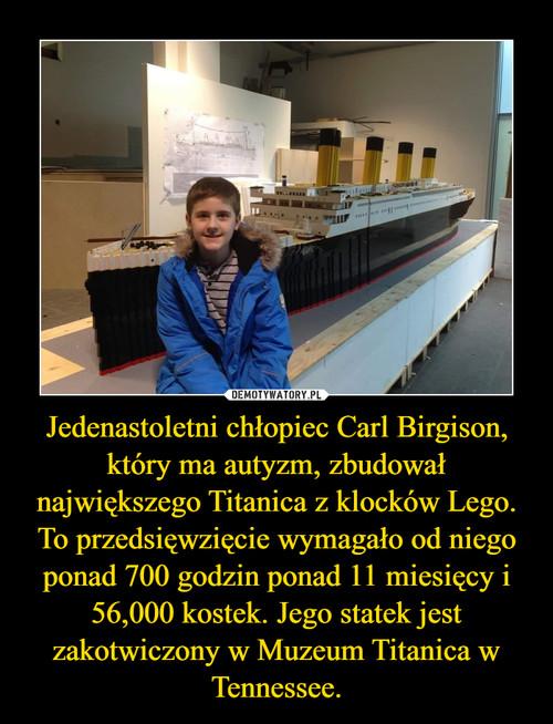 Jedenastoletni chłopiec Carl Birgison, który ma autyzm, zbudował największego Titanica z klocków Lego. To przedsięwzięcie wymagało od niego ponad 700 godzin ponad 11 miesięcy i 56,000 kostek. Jego statek jest zakotwiczony w Muzeum Titanica w Tennessee.