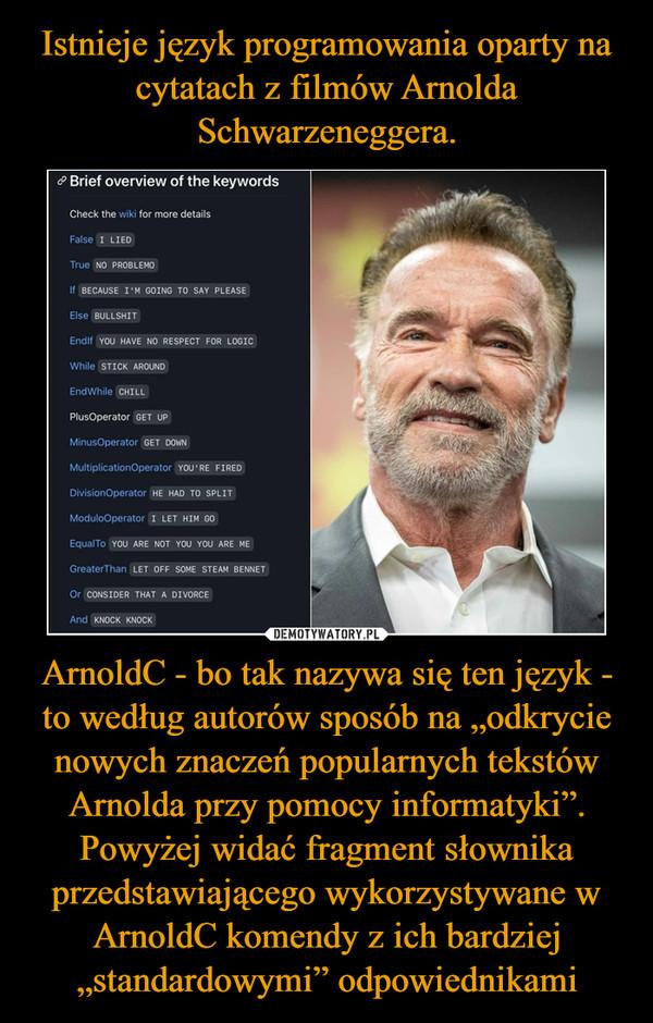 """ArnoldC - bo tak nazywa się ten język - to według autorów sposób na """"odkrycie nowych znaczeń popularnych tekstów Arnolda przy pomocy informatyki"""".Powyżej widać fragment słownika przedstawiającego wykorzystywane w ArnoldC komendy z ich bardziej """"standardowymi"""" odpowiednikami –"""