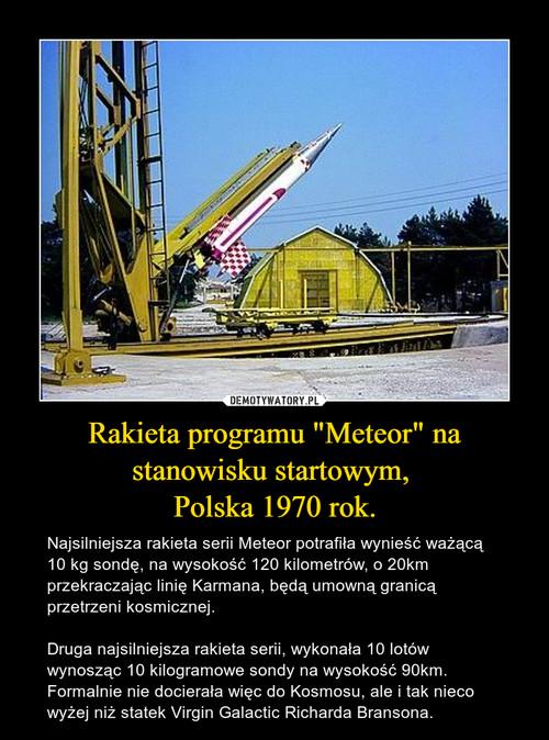 """Rakieta programu """"Meteor"""" na stanowisku startowym,  Polska 1970 rok."""