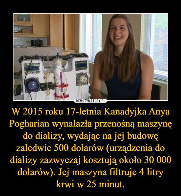 W 2015 roku 17-letnia Kanadyjka Anya Pogharian wynalazła przenośną maszynę do dializy, wydając na jej budowę zaledwie 500 dolarów (urządzenia do dializy zazwyczaj kosztują około 30 000 dolarów). Jej maszyna filtruje 4 litry krwi w 25 minut. –