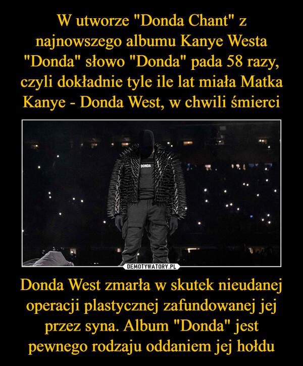 """Donda West zmarła w skutek nieudanej operacji plastycznej zafundowanej jej przez syna. Album """"Donda"""" jest pewnego rodzaju oddaniem jej hołdu –"""