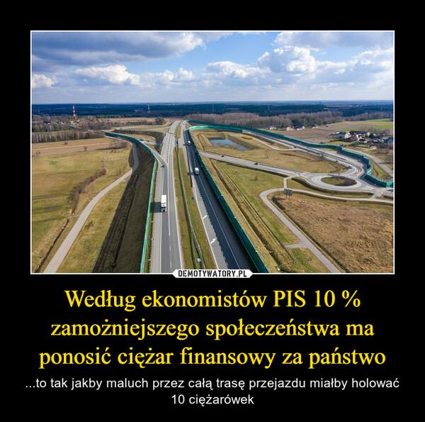 Według ekonomistów PIS 10 % zamożniejszego społeczeństwa ma ponosić ciężar finansowy za państwo – ...to tak jakby maluch przez całą trasę przejazdu miałby holować 10 ciężarówek