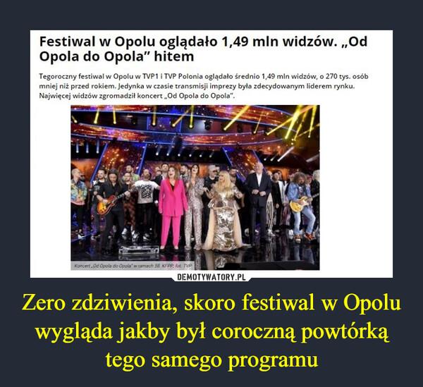 Zero zdziwienia, skoro festiwal w Opolu wygląda jakby był coroczną powtórką tego samego programu –