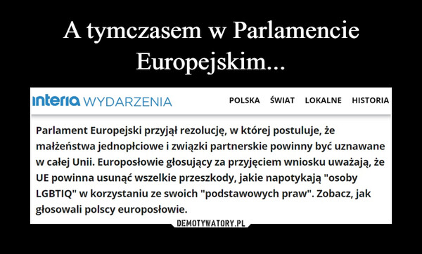 A tymczasem w Parlamencie Europejskim...
