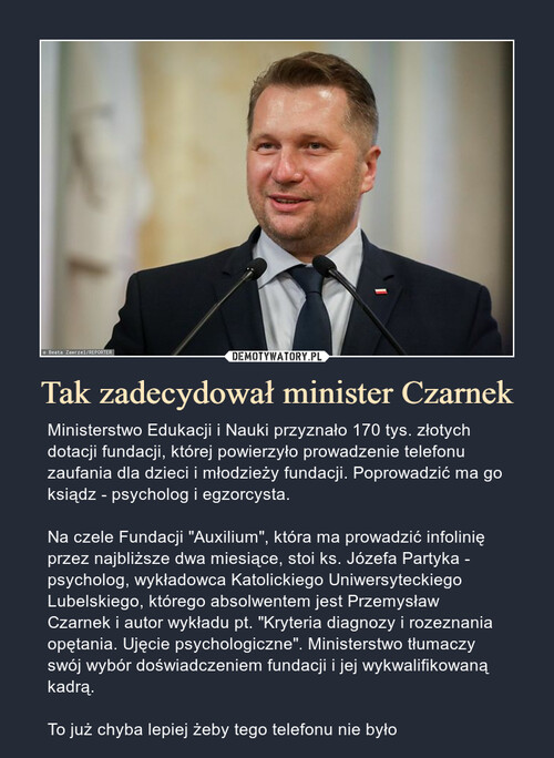 Tak zadecydował minister Czarnek