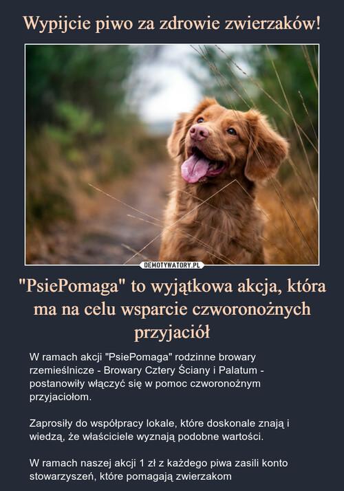 """Wypijcie piwo za zdrowie zwierzaków! """"PsiePomaga"""" to wyjątkowa akcja, która ma na celu wsparcie czworonożnych przyjaciół"""